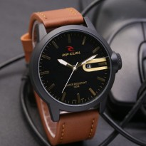 Jam Tangan Analog Jam Tangan Pria \ Cowok Ripcurl Qruz Leather Light Brown Gold