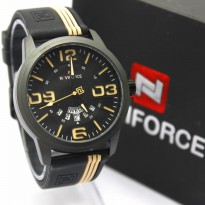 Jam Tangan Analog JAM PRIA NAVIFORCE RUBBER NF9123 TGL HARI ORI ANTI AIR BLACK CREAM