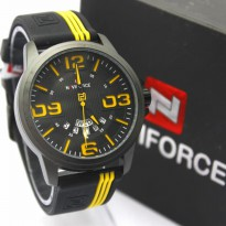 Jam Tangan Analog JAM PRIA NAVIFORCE RUBBER NF9123 TGL HARI ORI ANTI AIR BLACK YELLOW
