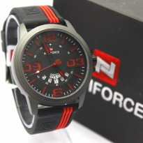 Jam Tangan Analog JAM PRIA NAVIFORCE RUBBER NF9123 TGL HARI ORI ANTI AIR BLACK RED