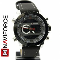 Jam Tangan Analog JAM TANGAN PRIA NAVIFORCE NF9097 DOUBLE TIME ORI ANTI AIR BLACK SILVER