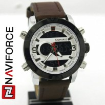 Jam Tangan Analog JAM PRIA NAVIFORCE NF9097 DOUBLE TIME ORI ANTI AIR DARK BROWN SILVER