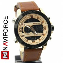 Jam Tangan Analog JAM PRIA NAVIFORCE NF9097 DOUBLE TIME ORI ANTI AIR BROWN ROSEGOLD