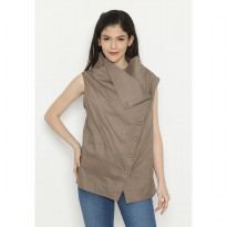Mobile Power Ladies Sleeveless Top Combination Collar-Cocoa Brown D10033