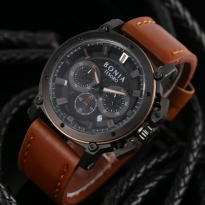 Jam Tangan Analog Jam Tangan Pria \ Cowok Bonia Chrono SK7255 Leather Brown