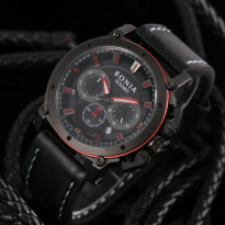 Jam Tangan Analog Jam Tangan Pria \ Cowok Bonia Chrono SK7255 Leather Black Red