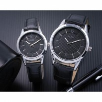 Jam Tangan Couple Jam Tangan Alba Couple Murah SK2940 Leather Black Silver Black