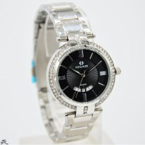 Jam Tangan Analog HEGNER LADIES 2501 RANTAI TANGGAL SILVER COVER BLACK