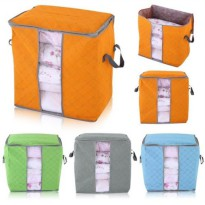 Vertical Foldable Bamboo Charcoal Cloth Storage Box Organizer - Tas Penyimpanan Selimut Baju Bantal