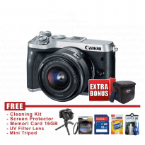 Kamera Canon Eos M6 Kit Lens 15-45mm Is Stm Silver