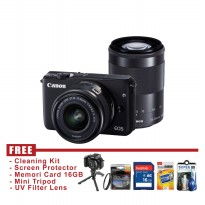 Canon EOS M10 Double Kit 15-45 & 55-200MM - Hitam - FREE Accessories