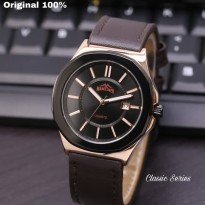 Jam Tangan Analog MARCLUNER TANGGAL KULIT ORI ANTI AIR DARK BROWN