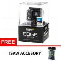 ISAW EDGE Lite Edition 4K ActionCam 16 MP WiFi - Hitam + ISAW Accesory