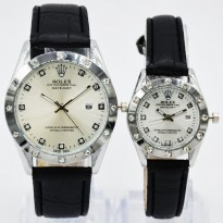 Jam Tangan Couple ROLEX SEPASANG KULIT TANGGAL BLACK COVER WHITE