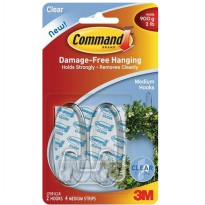 3M Command Clear Medium Hooks with Clear Strips (17091CLR) - Gantungan Dinding u/ Alat Dapur