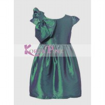 Korea Pink Bow Green Dress