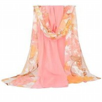 SCARF 01A7D3r Lotus Pattern Stitching Design Forever21 Pink