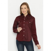 Mobile Power Ladie Basic s Long Sleeve Striped Shirt - Maroon F8374G