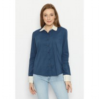 Mobile Power Ladies Basic Long Sleeve Shirt Combination Color - Blue & White F8308G