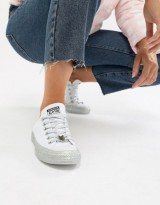 Converse X Miley Cyrus Chuck Taylor All Star Low Sneakers White And Silver Glitter