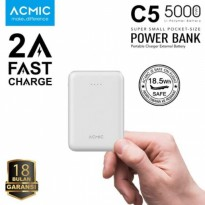 ACMIC C5 Mini Power Bank 5000 mAh (2A Fast Charge Input & Output) - White + Garansi 18 bulan