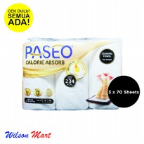PASEO CALORIE ABSORB COOKING TOWEL 2 PLY 3 ROLLS 70 SHEETS