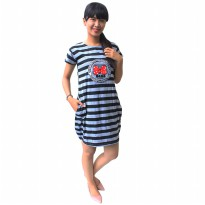 Mini Dress / Babydoll Wanita Stripe Chic / Soft Cotton / Atasan Wanita Santai - 65112