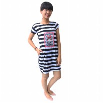 Mini Dress / Babydoll Wanita Stripe Chic / Soft Cotton / Atasan Wanita Santai - 65111