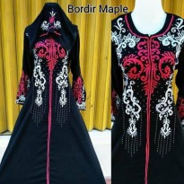 TERMURAH gamis abaya bordir maple plus pasmina busui