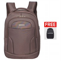 Luminox Tas Ransel Laptop Backpack built in USB Charger Up to 15 inch Anti Air 7726 - Coffee Bonus Cover Tas