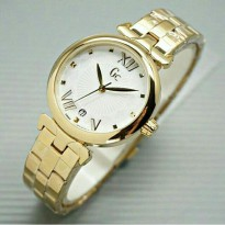 Jam Tangan Wanita Mewah Guess Collection Date Gold Plat Putih