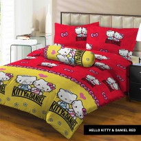 Sprei Lady Rose 160x200 Queen terlaris Hello Kitty and Daniel Red