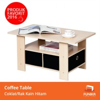 Funika 11158  - Coffee Table dengan 2 Rak Kain Hitam