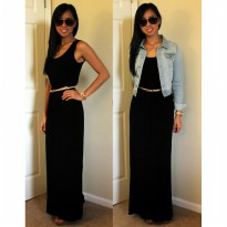 BASIC MAXI LONG DRESS  SPANDEK RAYON BLACK EDITION