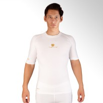Tiento Baselayer Tight Compression Baju Olahraga Short Sleeve White Gold Original