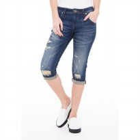 People's Denim Women Katlyn Ripped Ru 3/4 Slim Fit - Biru