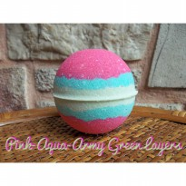 BATH BOMB PINK AQUA ARMY GREEN LAYERS