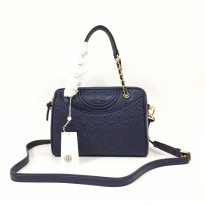 Authentic Tory Burch Fleming Duffle Satchel - Navy
