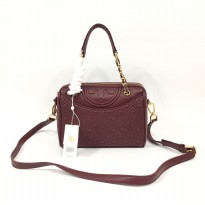 Authentic Tory Burch Fleming Duffle Satchel - Maroon