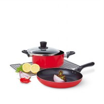 SET 2 pcs PANCI WAJAN MERAH SOPHIE PARIS CHERRY COOKWARE X1234R1 RED A