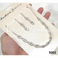 Set Perhiasan Anting dan Kalung Pre Wedding Party Pesta Fashion - S002