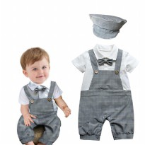 Cool Baby Hat Suspender Romper Grey
