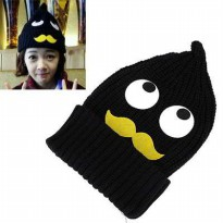 [TOPI] 01B174r Eyesmoustache Pattern Decorated Simple Design Black