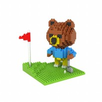LOZ 9427 GIFT LARGE BROWN BEAR GOLFING