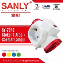 Stop kontak Arde 3 way Merk SANLY with Saklar ON-OFF ( SNI )