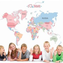 [globalbuy] World Map Colorful Letter Wall Sticker Vinyl Wall Stickers For kids Rooms Livi/3751197