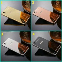 Aluminium Metal Bumper Slide Back Case with Mirror Cover Untuk Oppo F1+ F1 Plus R9