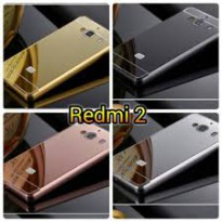 Aluminium Metal Bumper Slide Back Case with Mirror Cover Untuk Xiaomi Redmi 2 2S