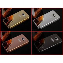 Aluminium Metal Bumper Slide Back Case with Mirror Cover Untuk Samsung Note 5 Note5
