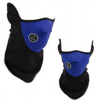 Masker Motor dan Sepeda Half Face Biru With Air Breathing Filter